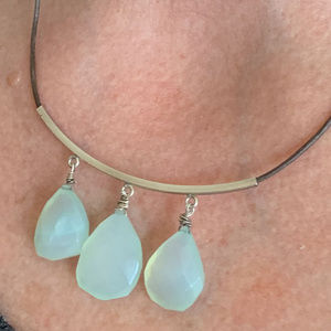 Aqua Chalcedony Briolette Sterling Silver Necklace